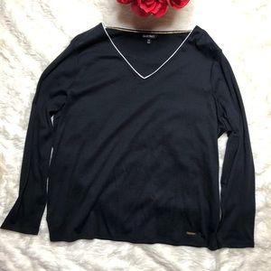 Ellen Tracy Black Long Sleeve V Neck Shirt